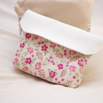 Floral Clutch, Blast of Flowers and Creamy White, Cotton and Vegan Leather, Small Clutch Bag