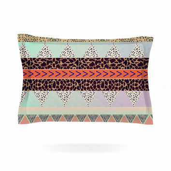 "Vasare Nar ""Animal Print Tribal"" Multicolor Pastel Pillow Sham"