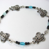 Beaded Sea Turtle Anklet  Silver and Aqua Blue  by BitsOffTheBeach