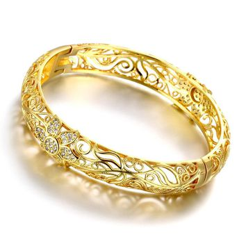 24k Gold Color bangles for women rose gold bracelets wedding party Bridal jewelry joias ouro Factory Price Vintage Z025-A