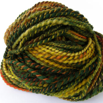 hand spun yarn, handspun yarn, hand dyed yarn, hand painted yarn, merino wool, orange, green, yellow, bulky, super bulky, 2 ply, thick thin