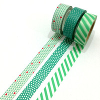 Washi tape set: Mint love, stripes and polkadot / packaging / gift wrapping / valentine