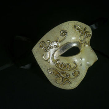Phantom of the Opera Mask, Masquerade Mask, Phantom Silver Mask, Party Mask, Mardi Grass Mask, Costume Mask, Prom Mask