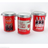 Coca-Cola Lock Top Tin Canisters Set of 3 Coke Kitchen Storage RetroPlanet.com