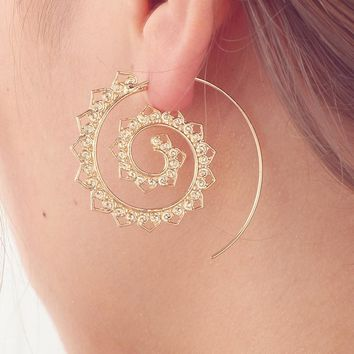 Eternal Ornate Spiral Hoop Earrings in Silver or Gold Tone