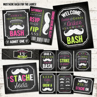 Mustache Bash Birthday Party Pack - For the Ladies - Vintage Inspired - Blackboard, Newsprint - Custom, Printable - Chalkboard, Mustache