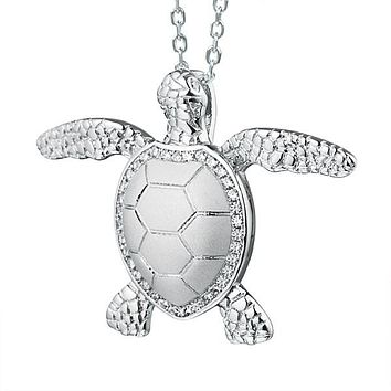 Sterling Silver Alamea Hawaii Pave CZ Turtle Pendant Necklace