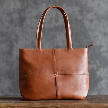 Handmade Vegetable Tanned Leather Banquet Tote Bag
