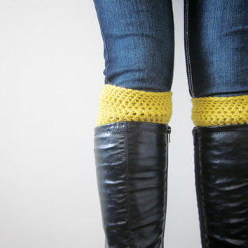 Crochet Boot Cuffs Socks Boot Toppers in Mustard