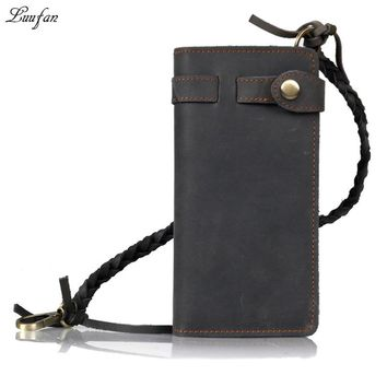 Men's genuine leather wallet cowhide bifold long wallet inner zipper card holder phone pocket purse real leather chain wallets