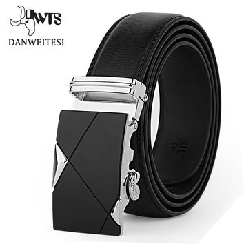 Leather belt men belts luxury business alloy belts for men