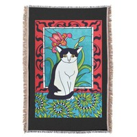 Cute Tuxedo cat with Pink Orchid Flower Throw Blanket
