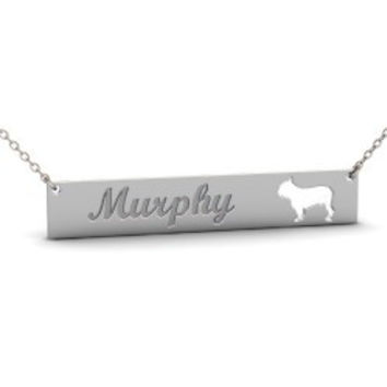 Sterling Silver BULLDOG Dog Name Bar Necklace