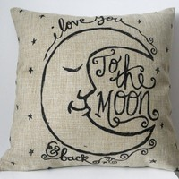 "HOSL Cotton Linen Square Decorative Retro Throw Pillow Case Vintage Cushion Cover I Love You to the Moon and Back 18 ""X18 """