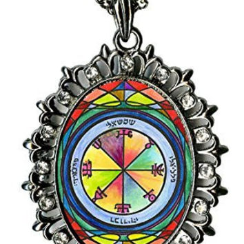 Solomons 2nd Sun Represses Those Who Oppose You Huge Gunmetal Medallion Rhinestone Pendant