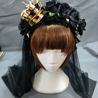 Gothic Lolita Black Faux Flowers Headband with Crown and Horns