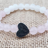 ROSE QUARTZ  Women Heart Bracelet Hill Tribe Genuine Sterling Silver Heart  Quartz Bracelet Rose Quartz Love Bracelet Gifts For Her