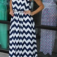 NAVY CHEVRON MAXI