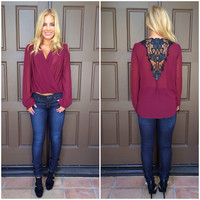 Black Rose in Merlot Blouse