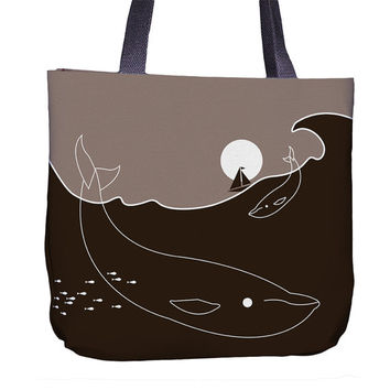 Whale Tote Bag - Whale Bag - Shopping Bag - Whale Gift - Whale Print - Brown Bag - Whale Lover - Cool Bag - Nautical Print - Moon Print
