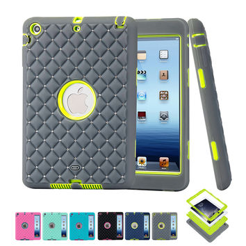 Diamond Protective Case for iPad Mini 3/2/1 Luxury 3 in 1 Shockproof High Rugged Hybrid Back Tablet Cover Armor Hard PC+Silicone
