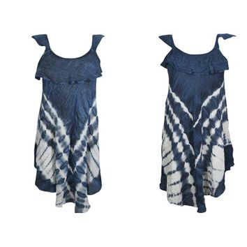 Mogul 2PC Beautiful Tie Dye Beach Dress Sleeveless Flare Blue Cover Up Rayon Scoop Neck Stylish Summer Tank Dresses For Womens M - Walmart.com