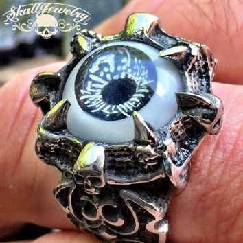 BLACK 'All Seeing Eye' Gothic Skull Dragon Claw Black Evil Eye Biker Ring (287)