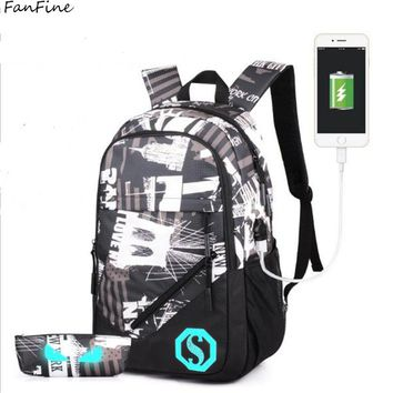 FanFine Brand Men USB Luminous Bag Backpack Students Fashion Noctilucence High School Student Bag Daypack For Men Mochila
