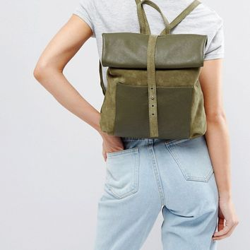 ASOS Leather And Suede Roll Top Midi Backpack at asos.com
