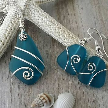 Handmade in Hawaii, Wire wrapped teal  blue sea glass necklace + earrings jewelry set,925 sterling silver chain, gift box, wedding gift