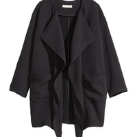 H&M - Draped Coat - Black - Ladies