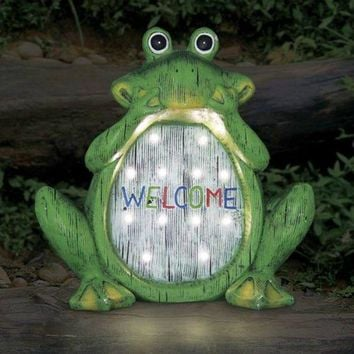 Exhart® 10956 Solar-Powered LED Frog Statue with Welcome Message, 12""