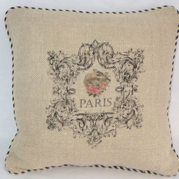 """Paris Burlap Pillow 16"""" Square with Black and Ivory Ticking Stripe Welting Ornate Frame and Bird Nest Ready Ship Cover and Insert OOAK"""