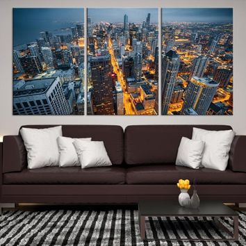 80507 - Chicago Wall Art Canvas Print - Extra Large Chicago City Night Canvas Print