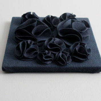 "Navy Blue 3D Felt Wall Art Canvas, 12x12"" Wall Hanging, Nursery Art, Blue Baby Art, Navy Wall Decor, Navy Blue Wall Hanging"