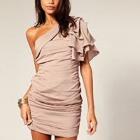 Forever Unique | Forever Unique Gathered One Sleeve Dress at ASOS
