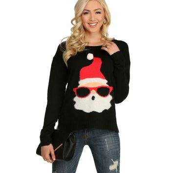 Black Cool Santa In Shades Holiday Sweater