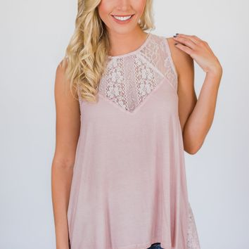 Be Near Me Lace Detail Tank Top- Vintage Blush