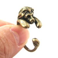 Realistic Lion Animal Wrap Around Ring in Brass - Sizes 4 to 9 Available