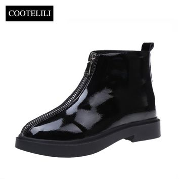 COOTELILI Botas Women Ankle Boots Flat Heels Casual Shoes Woman Patent Leather Boots Platform Zipper Europe Style 35-39