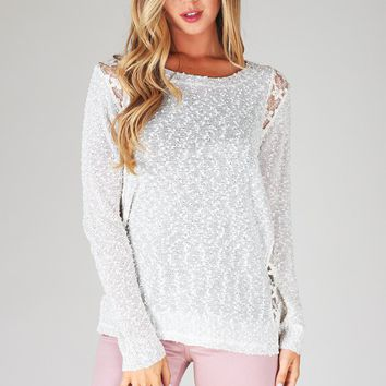 Beige Sparkle Crochet Accent Sweater