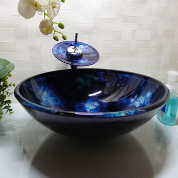 Bathroom Round Tempered Glass Above Counter Wash Basin Cloakroom Counter Top Vessel Sink  HX008