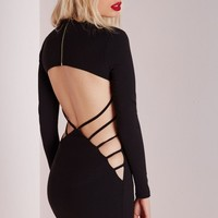 Missguided - Crepe Long Sleeve Back Detail Bodycon Dress Black