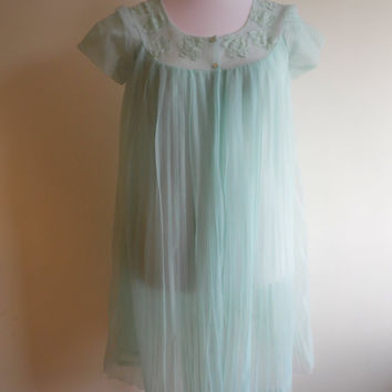 Vintage blue peignoir negligee and babydoll nightgown set in pleated sheer chiffon 34""