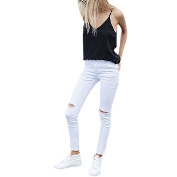 Cool denim high waist pants capris Women White hole ripped jeans jeggings Female skinny casual jeans Newest