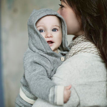 Hooded grey sweater/ baby alpaca knit hoodie /  wool jacket /  baby / boy / girl / toddler coat