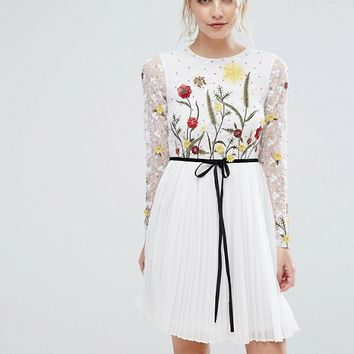 Frock And Frill Petite Premium Embroidered Floral Mini Skater Dress With Contrast Waist at asos.com