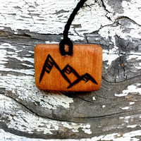 Natural Wooden Mountain Pendant Necklace | The Climbing Stone