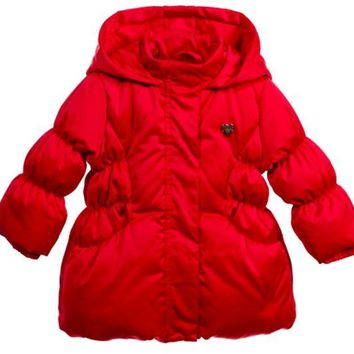 LMFMS9 Armani Baby Girls Red Puffer Jacket