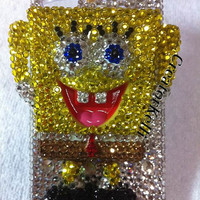 spongebob iPhone Case bling yellow sliver crystals iphone 5 case 3d sparkle iphone 4 4s case SpongeBob iphone cover samsung galaxy s3 case